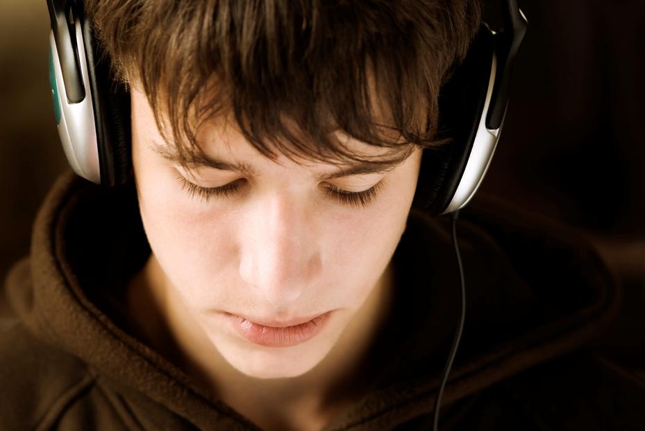 boy with headphones on