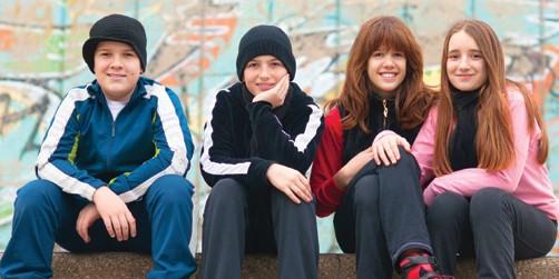 Teens skating