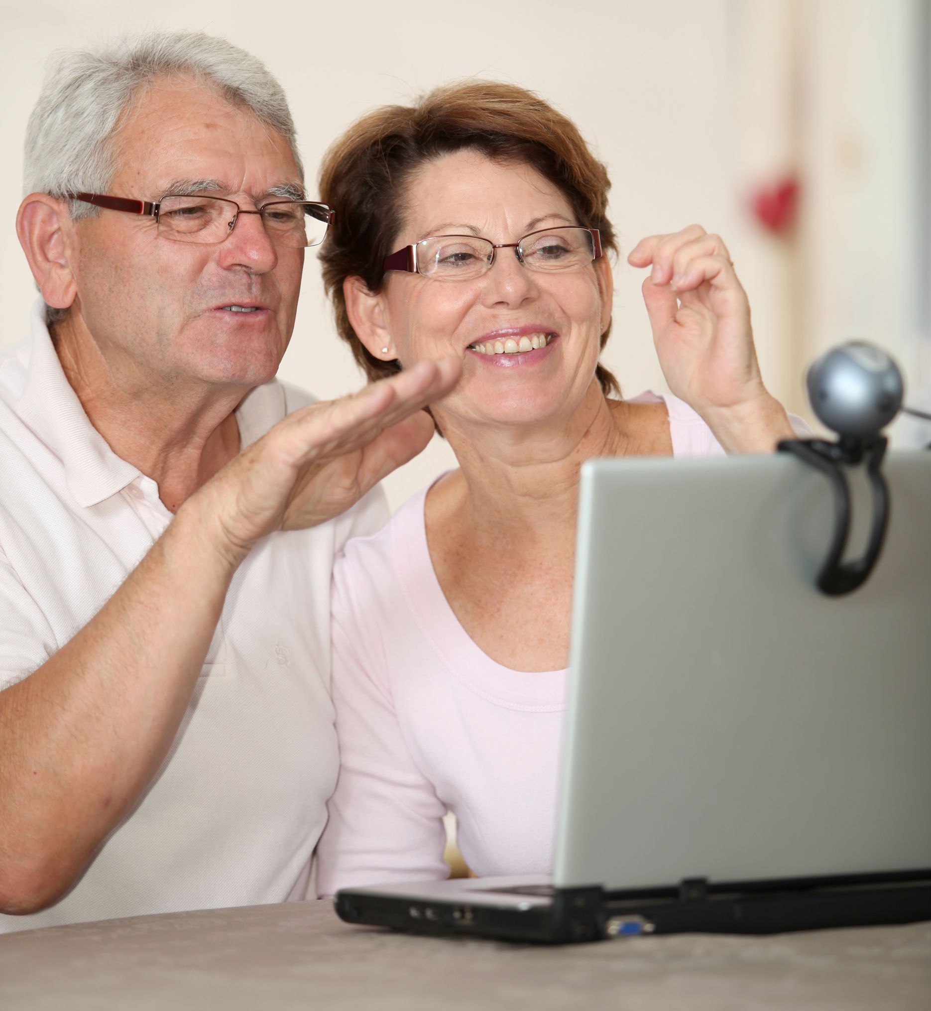 older couple on webcam